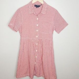 90s Vintage Red Gingham Button-up Mini Dress